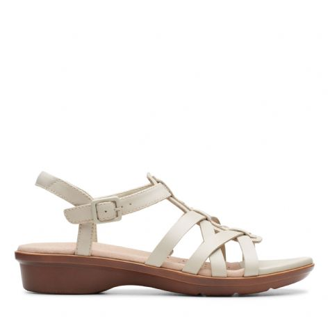 Clarks Womens Loomis Katey Ivory Leather Sandals